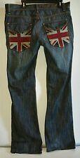 Men's 36x35 BLACK LABEL Premium Denim Goods Union Jack British Flag JEANS EUC!