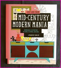 ADULT COLOURING - MID-CENTURY MODERN MANIA Colour-in 30 designs - New BOOK