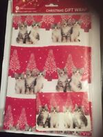 Tabby & White Kitten Cat Christmas Tree Red Xmas gift wrap 6 sheets & 6 tags