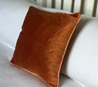 """Luxury TWO PACK Burnt Orange Rust Soft Velvet Piped 17"""" Cushion Cover Modern"""