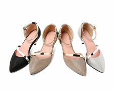 Women's d'Orsay Ankle Straps Pointed Pumps Sandals Med Heel Plus Size Shoes S452