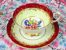PARAGON GOLD GILT FLOWERS RED & CREAM FLORAL TEA CUP AND SAUCER