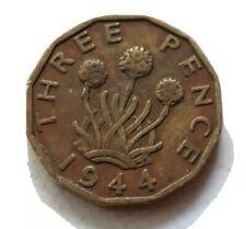 1944 UK Great Britain British Three 3 Pence WWII Era Plant Coin