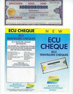 FRANCE  SOCIETE DU CHEQUE  AMEX   50 ECU  SPECIMEN WITH ADV. FLYER   UNC