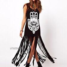 Maxi Tassel Fringe Long Vest Dress Sleeveless Graphic Punk Rock Gothic Black UK