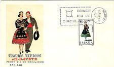 SOBRE MAT.PRIMER DIA MADRID 1967 TRAJES TÍPICOS ALBACETE  EDIFIL Nº 1768
