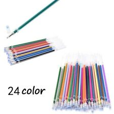24 Colorful Set Watercolor Gel Ink Refills Pen Students School Office Learn Art