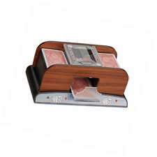 Relaxdays Kartenmischer elektrisch 2 Decks, Kartenmischmaschine Holz Optik, batt