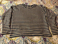 Vineyard Vines Women's Size M Sweatshirt Blue White Striped Top Split Sides VGUC