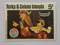 VINTAGE STAMP💎1980💎5 cent Disney Turks and Caicos islands Pinocchio #442-51💎
