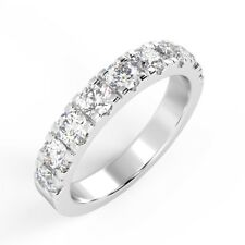 1.00Ct Round Diamond Micro Set Half Eternity Wedding Ring, 18k W.Gold - Bargain
