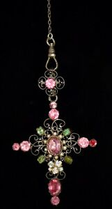 GORGEOUS! Antique *GEORGIAN* Jeweled CROSS w *STERLING SILVER* Lorgnette Chain