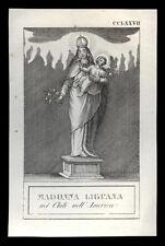 santino incisione 1800 MADONNA LIGUANA in CHILE