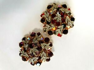 2 LARGE SPARKLY PASTE SPHINX PASTE BROOCHES  1960's SIGNED