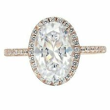 1.98ct Oval Cut Solitaire Halo Promise Bridal Engagement Ring Rose 14k Gold
