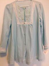 Vintage Miss Elaine Sleep Shirt Embroidered Button Down Nightie Pajamas Size 38