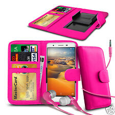 For BenQ B502 - Clip On PU Leather Wallet Case & Earphone