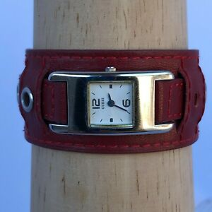 Guess Womens Analog Quartz Watch with Wide Red Leather Strap White Dial Quartz