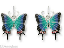 Zarah Zarlite Hewitsons Blue Hairstreak BUTTERFLY EARRINGS Enamel Silver Plated