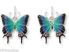 Zarah Zarlite Hewitsons Blue Hairstreak BUTTERFLY EARRINGS Enamel Silver Plated