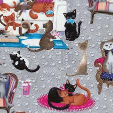 Benartex Fabric - Kanvas - Kitties All Over - Grey - 100% Cotton Cat