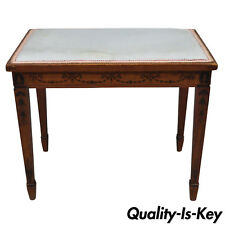 Early 20th Century English Adam Style Bell Flower Inlaid Vanity Bench Seat