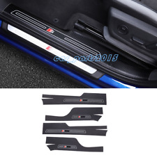 Carbon Fiber leather Inner Side Door Sill Guards Plate For Audi Q3 2019-2020