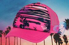 New Roxy In Bloom Pink Dig Trucker Mesh Snapback Cap Hat