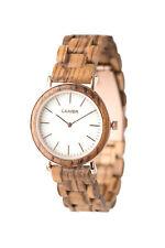 LAiMER Holzuhr Leona -  Damen Armbanduhr aus Edelstahl, Zebrano & Marmor