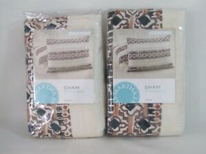 New Martha Stewart Collection 2 Quilted Pillow Sham Standard Pleats and Thank Yo