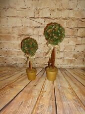 Set of 2 Small Artificial Topiary Trees/Faux Plants w/Gold Pots Pine Cones