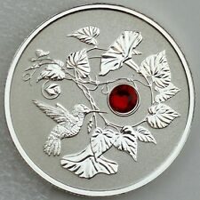2013 $3 Hummingbird & Morning Glory Pure Silver Reverse Proof, Swarovski Crystal
