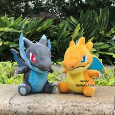 "2Pcs Q Mega Charizard XY Shiny Plush Stuffed Toy Cartoon Soft Doll Gift 6"""