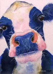 ORIGINAL ACEO watercolour animal/wildlife art painting FRIESIAN COW Clare Crush