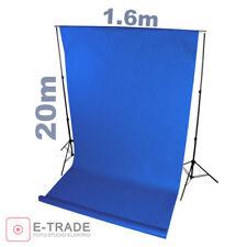 Profi BLAU blue - Hintergrund 1.6m x 20m Lang ! mit Pappröhre FOTOHINTERGRUND