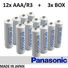 12x Panasonic Eneloop - AAA R3 800 mAh HR-4UTGB + 3x BOX - BATTERIES