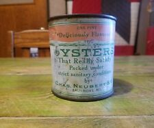 OLD CHAS. NEUBERT & CO. BALTIMORE MD OYSTERS KITCHEN CABIN TIN CAN MERMAID FISH