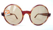 Unisex Sonnenbrille in Hornoptik rund Vintage 60s  Echtglas braun Echtenia Gr. L