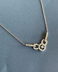 "18ct White Gold Diamond Necklace 0.55ct Chocker Cocktail VS 18"" Collar"