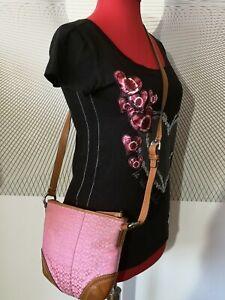 coach Womens designer handbag Crossbody messenger bag brown leather pink fabric