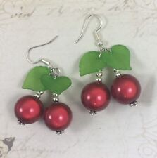 Red Green Miracle Cherry Cherries Earrings Goth Rockabilly Tattoo Punk Emp
