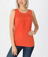 Lydiane Women's Pleated Crewneck Sleeveless Top (Orange, 1X)