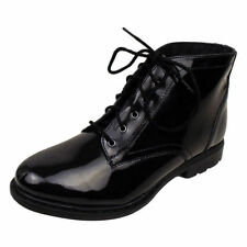 Patent Leather Lace Up Ankle Boots for Women
