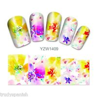 Nail Art Water Decals Stickers Wraps Pretty Rainbow Flowers Gel Polish (1409)