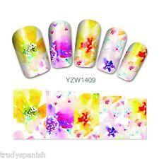 Nail Art Water Decals Stickers Wraps Pretty Rainbow Flowers Gel Polish (1409)