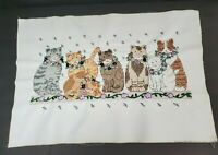 """Vintage fabric cross stitch finished completed unframed CAT KITTY KITTEN 23x16"""""""