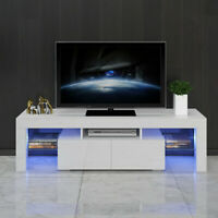 High Gloss 63'' TV Stand Unit Cabinet 2 Drawers Console Table w/ Blue LED RC