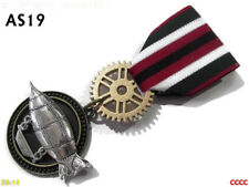 Steampunk badge brooch pindrape Medal flying airship zeppelin red green #AS19