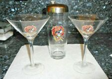 Ed Hardy Martini Shaker Glasses -Set of 3- Love Kills Slowly in Original Box