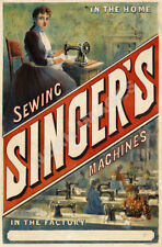 Sewing Singers Machines vintage sewing machine ad poster repro 12x18